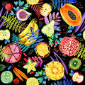 Seamless watercolor pattern of tropical garden fruit. jungle nature plant background. Royalty Free Stock Photo