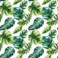 Seamless watercolor pattern of tropical leaves, dense jungle. Ha