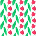 Seamless watercolor pattern with tulips on the Royalty Free Stock Photo