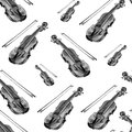 Seamless watercolor pattern with violin on the white background.