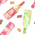 A seamless watercolor pattern with the wine (champagne) bottles and the wine corks. Painted on a white background. Royalty Free Stock Photo