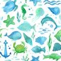 Seamless watercolor sea life pattern. Royalty Free Stock Photo