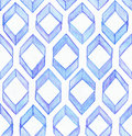 Seamless watercolor texture, based on blue hand drawn imperfect rhombus in a geometric repeating design.