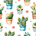 Seamless watercolor texture with cactus plant and succulent plant in pot