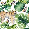 Seamless watercolor animal tiger pattern with tigers with tropical leaves, aloha jungle hawaiian. Hand painted palm leaf
