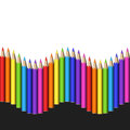 Seamless Wave Line of Colorful Realistic Pencils.