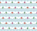Seamless wave pattern with fish and octopus marine vector illustration Stock Photos