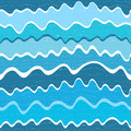 Seamless wave striped pattern with blue waves vector Royalty Free Stock Photos