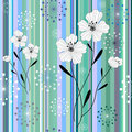 Seamless white-blue floral striped pattern Royalty Free Stock Photo