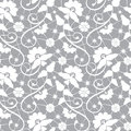 Seamless white floral lace pattern gray background Stock Images