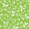 Seamless white floral pattern on green. Vector ill