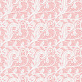 Seamless white lace fabric on a pink background. Subtle pattern of twigs and leaves. Royalty Free Stock Photo