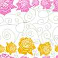 Seamless white pattern line roses Stock Photos