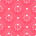 Seamless white pattern with Love, heart and arrow in vintage style on a red background for Valentine's Day Royalty Free Stock Photo