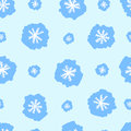 Seamless white snowflakes texture with blue negligent on the blue Stock Photos