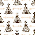 Seamless wigwam pattern with arrows. Hand-drawn indian background vector. Native american tent pattern. Royalty Free Stock Photo