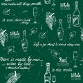 Seamless wine pattern chalkboard on chalk board vector illustration Stock Images