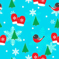 Seamless winter pattern with bullfinches.
