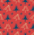 Seamless winter pattern with Christmas trees. Package texture with decorative spruces. Abstract holiday backdrop for crafts, print Royalty Free Stock Photo