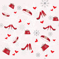 Seamless winter pattern with clothing elements Stock Photo
