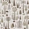 Seamless winter pattern of coniferous forest