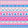 Seamless winter sweater pattern with hearts and owls pink blue version can be used for wallpaper fills Stock Images