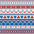 Seamless Winter Sweater pattern with Hearts and Owls. Red-Blue v