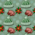 Seamless winter texture hand drawn pattern with garment and snowflakes Stock Photo