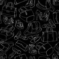 Seamless woman s fashion accessory sketch bags and shoes pattern background vector illustration editable eps and render in jpg Stock Photography