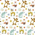 Seamless woodland pattern with cute bear, fox, wolf and hand drawn elements. Creative scandinavian kids texture for Royalty Free Stock Photo