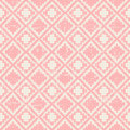 Seamless worn out vintage pink pixel diamond check pattern background.