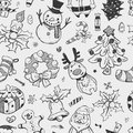 Seamless xmas pattern cartoon vector illustration Royalty Free Stock Images