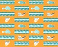 Seamless yellow background with ships, fish and waves