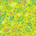 Seamless yellow colorful floral pattern with leafs Stock Photography
