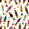 Seamless young girl pattern Royalty Free Stock Photo