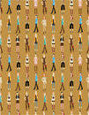 Seamless young girl pattern Stock Photos
