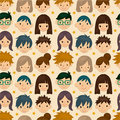 Seamless young people face pattern Stock Photo