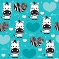 Seamless zebra love pattern vector illustration Royalty Free Stock Photos