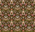 Seamless zigzag pattern olive green yellow magenta