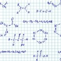 Seamlessly vector pettern chemistry wallpaper scribbles on checked paper Royalty Free Stock Photography
