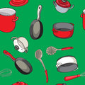 Seampless pattern pans ladles hand drawn objects over green background Royalty Free Stock Photos