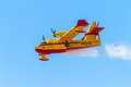 Seaplane canadair cl albacete spain jun taking part in an exhibition on the open day of the airbase of los llanos on jun in Royalty Free Stock Photography