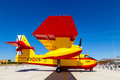 Seaplane canadair cl albacete spain jun taking part in a static exhibition on the open day of the airbase of los llanos on jun in Royalty Free Stock Image