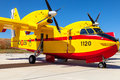 Seaplane canadair cl albacete spain jun taking part in a static exhibition on the open day of the airbase of los llanos on jun in Stock Photos
