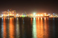 Seaport at night Royalty Free Stock Photo
