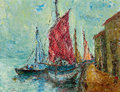 Seaport Painting Stock Image