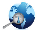 Search for connectivity around the world wifi tower illustration design Stock Photography