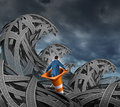 Search for direction business concept with a businessman floating in a traffic cone through a pile of tangled roads and highways Royalty Free Stock Images