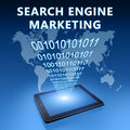 Search engine marketing illustration with tablet computer on blue background Royalty Free Stock Image