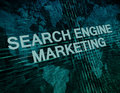Search engine marketing text concept on green digital world map background Royalty Free Stock Image